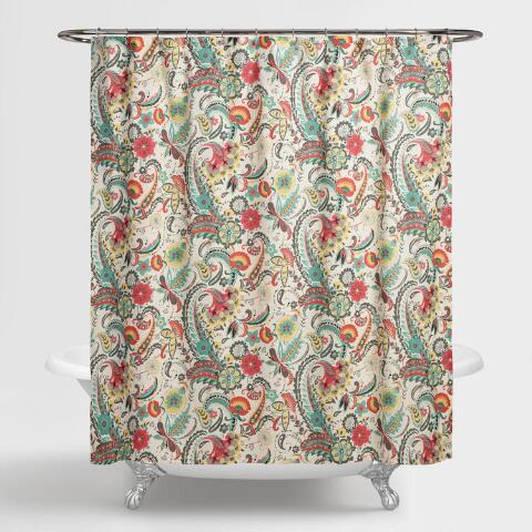 Paisley floral kadiri shower curtain world market for Shower curtain savers