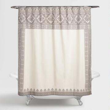 Ivory and Gray Arch Agra Shower Curtain