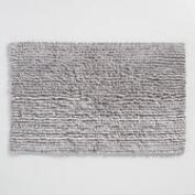 Gray and Ivory Shag Bath Mat