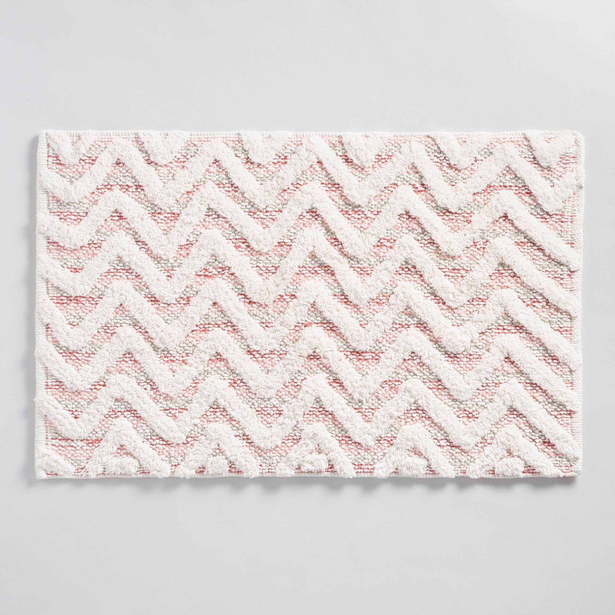 coral chevron tufted bath mat world market
