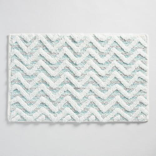 Aqua Chevron Tufted Bath Mat