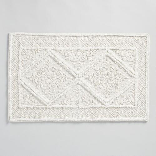 Ivory Double Diamond Woven Bath Mat