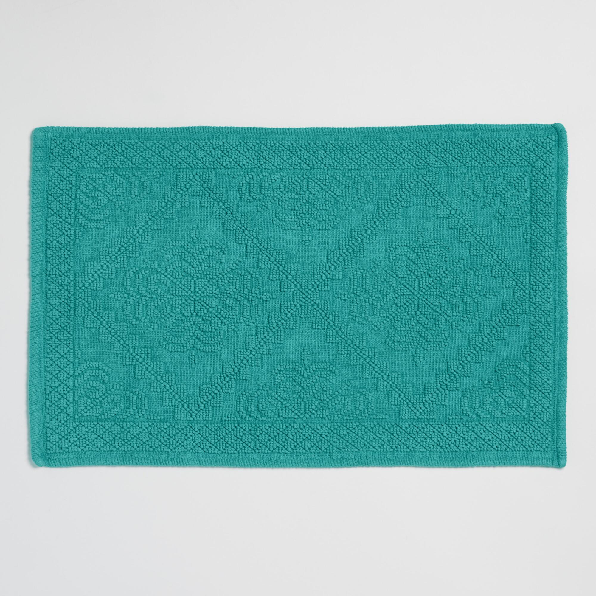 Teal Double Diamond Woven Bath Mat