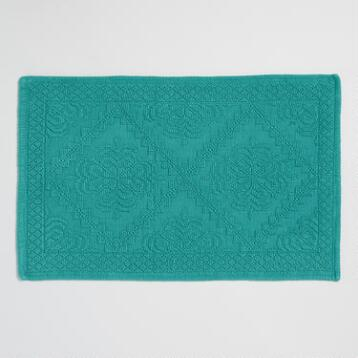 Teal Double Diamond Woven Bath Math