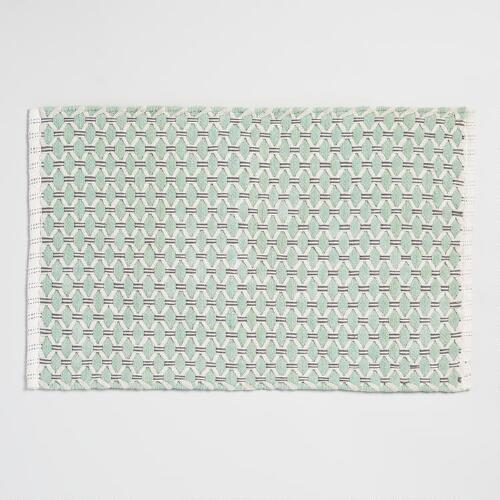 Gray and Mint Basket Weave Bath Mat
