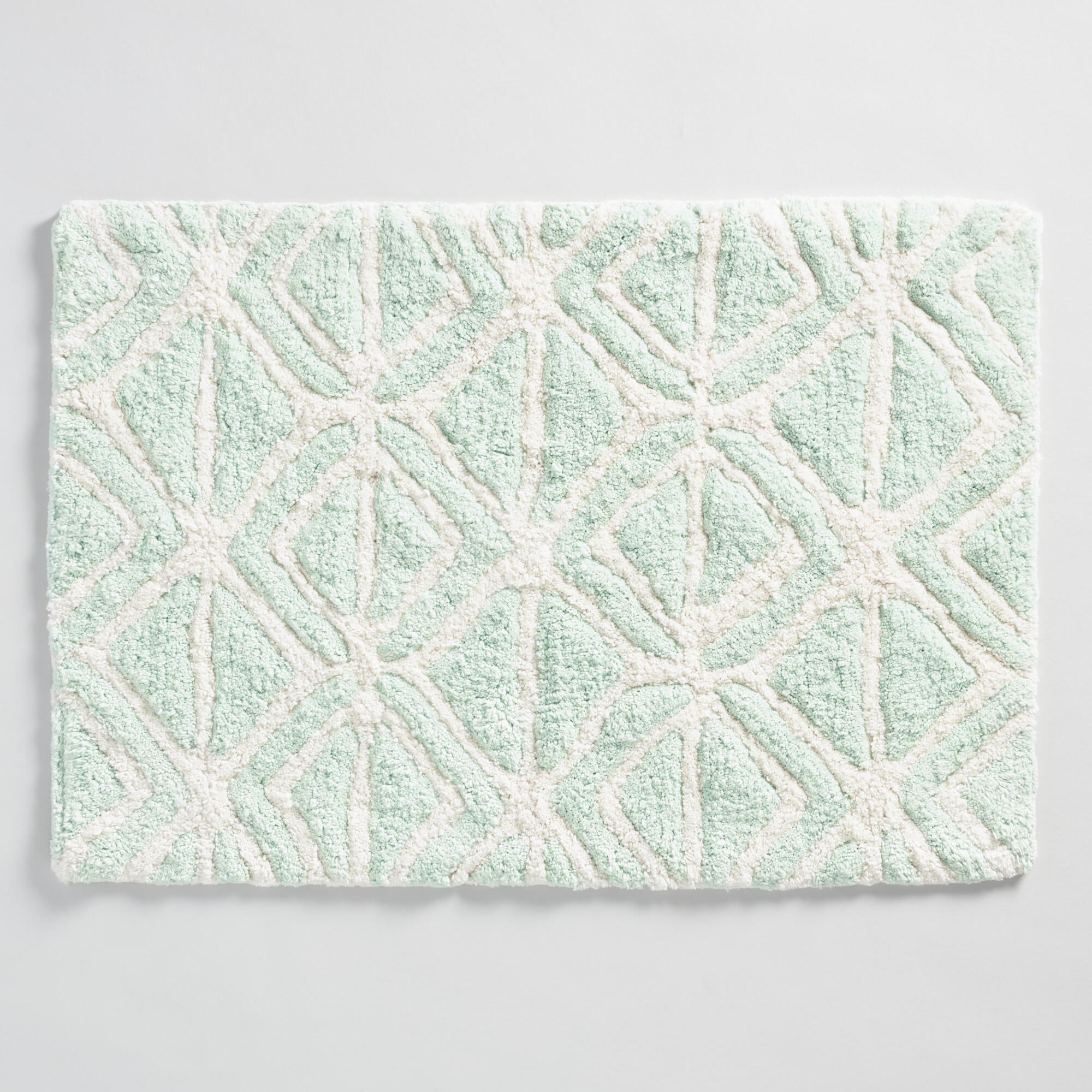 Mint And Ivory Tribal Tufted Bath Mat World Market