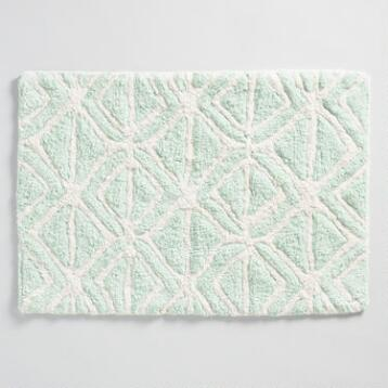 Mint and Ivory Tribal Tufted Bath Mat