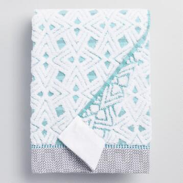 Aqua Geometric Vera Sculpted Bath Towel