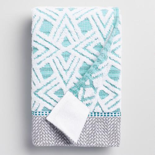 Aqua Geometric Vera Sculpted Hand Towel