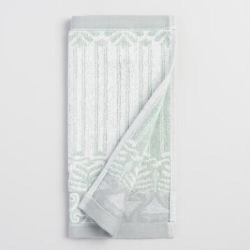 Mint Kasia Feather Washcloth Set of 2