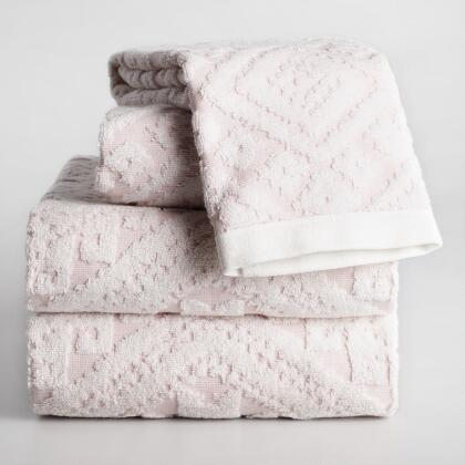 Blush Anja Aztec Sculpted Bath Towel Collection