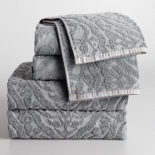 Gray Ogee Therese Bath Towel Collection