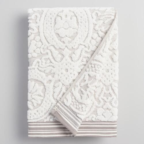 Taupe Christina Sculpted Bath Towel