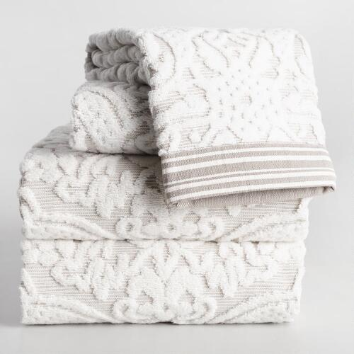 Taupe Christina Sculpted Bath Towel Collection