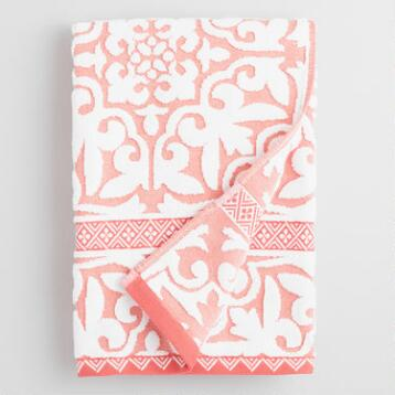 Coral and Ivory Ileana Tile Sculpted Cotton Bath Towel