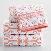 Coral and Ivory Ileana Tile Sculpted Cotton Towel Collection