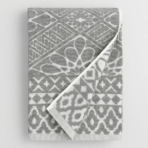 Gray Madeleine Sculpted Bath Towel