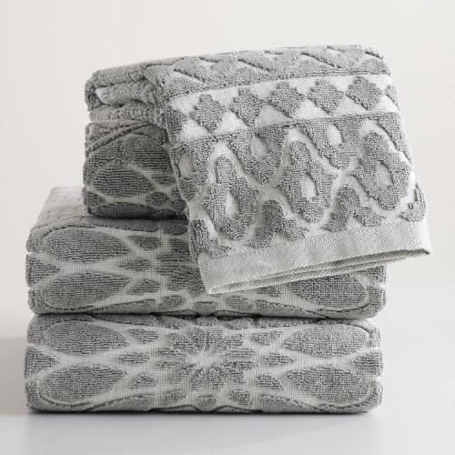 Gray Madeleine Sculpted Towel Collection