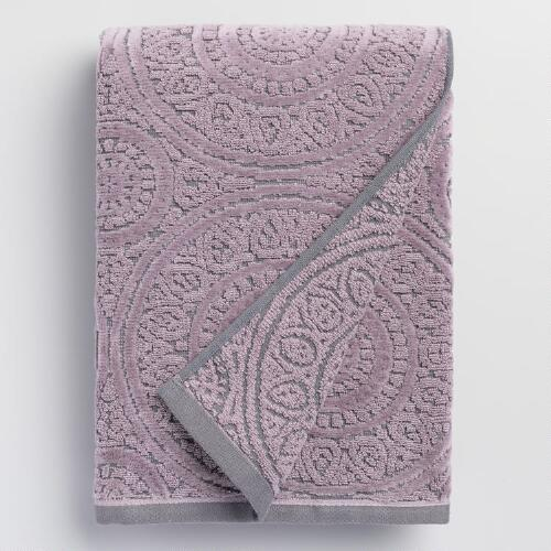 Gray and Lavender Eloise Sculpted Bath Towel