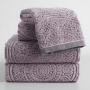 Gray and Lavender Eloise Sculpted Towel Collection