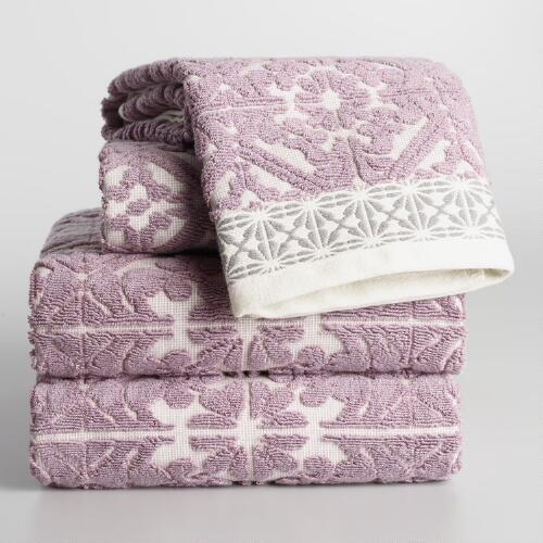 Lavender Cassandra Sculpted Towel Collection