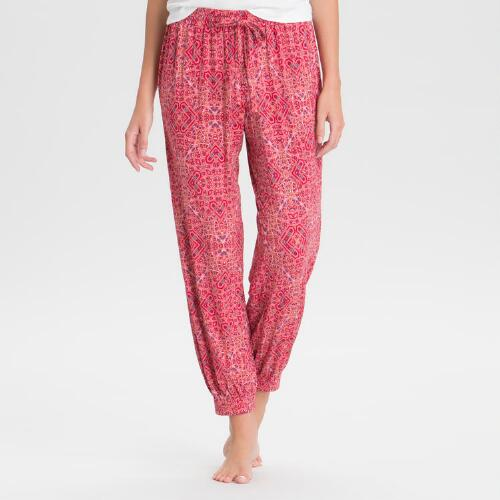 Red Mosaic Pajama Pants