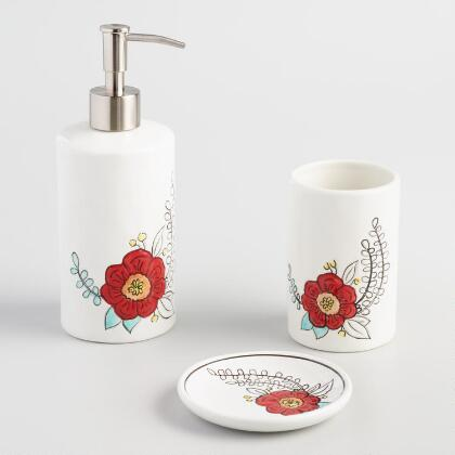 Coral bathroom accessories world market for Red and black bathroom accessories