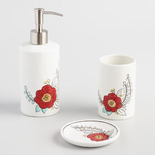 Painted Flower Ceramic Bath Accessories Collection