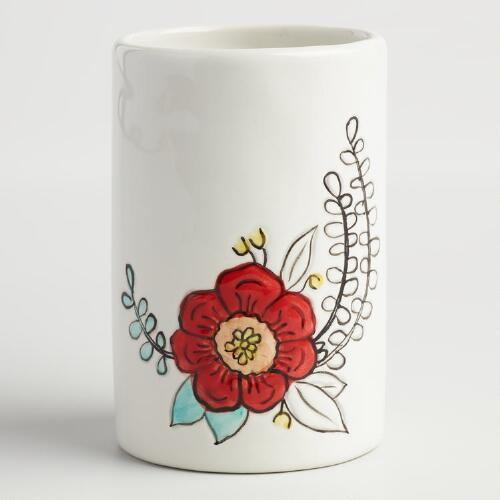 Painted Flower Ceramic Toothbrush Holder