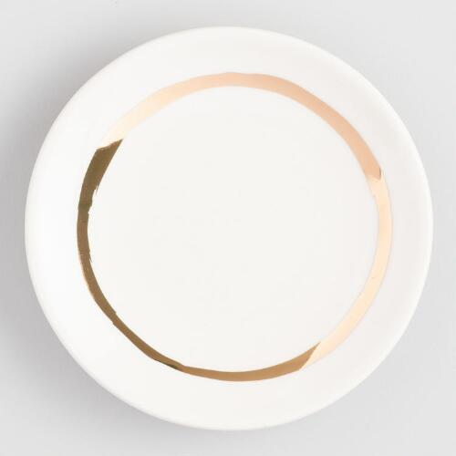 Round Gold Circle Ceramic Trinket Dish