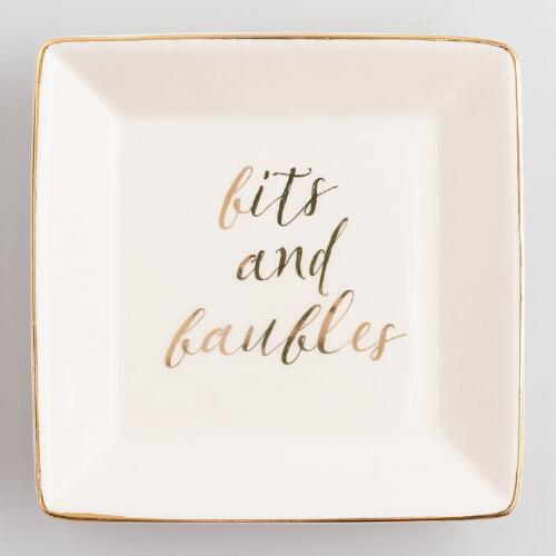 Square Gold Bits and Baubles Ceramic Trinket Dish