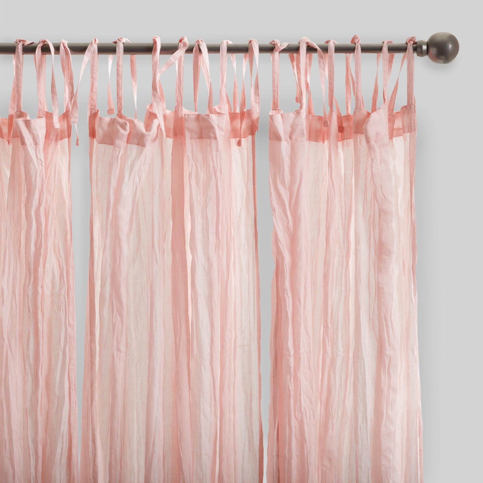 Blush Pink Crinkle Cotton Voile Curtains Set Of 2 World