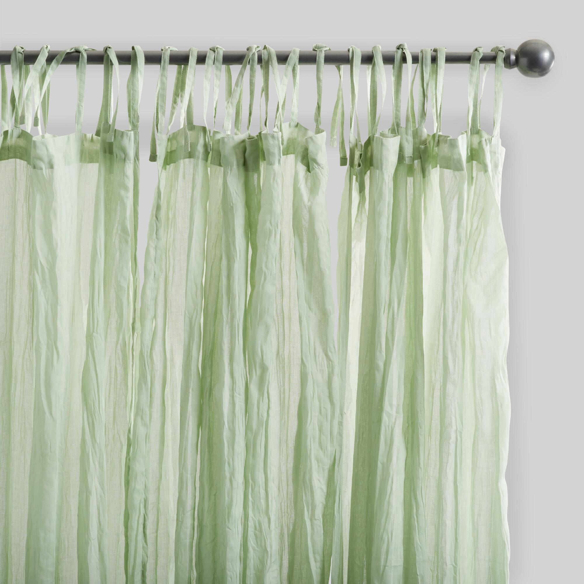 Sage Green Crinkle Cotton Voile Curtains Set Of 2 World Market
