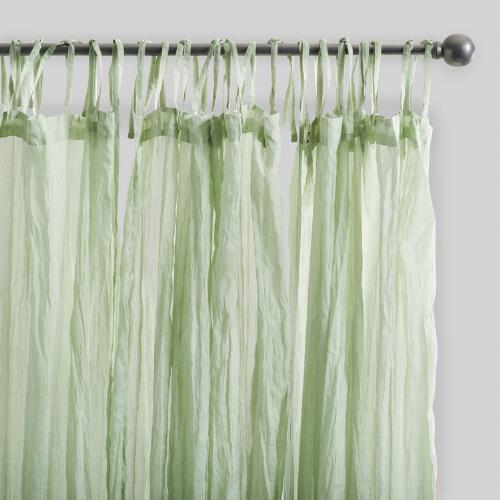 Sage Green Crinkle Cotton Voile Curtains Set of 2