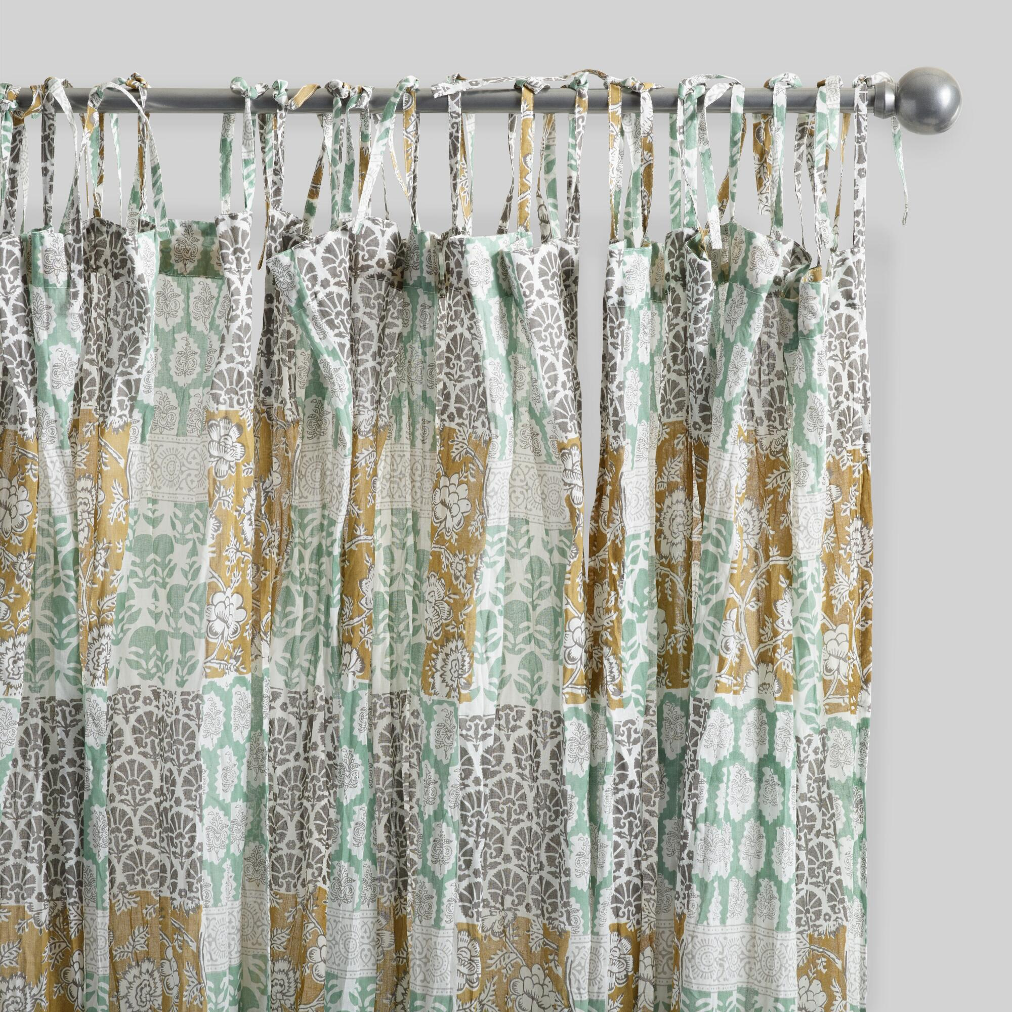 Boho Patch Crinkle Cotton Voile Curtains Set Of 2 World