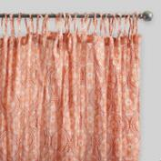 Coral Ogee Crinkle Cotton Voile Curtains Set of 2