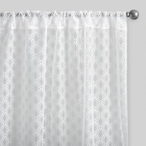 White Fan Burnout Sheer Curtains Set of 2