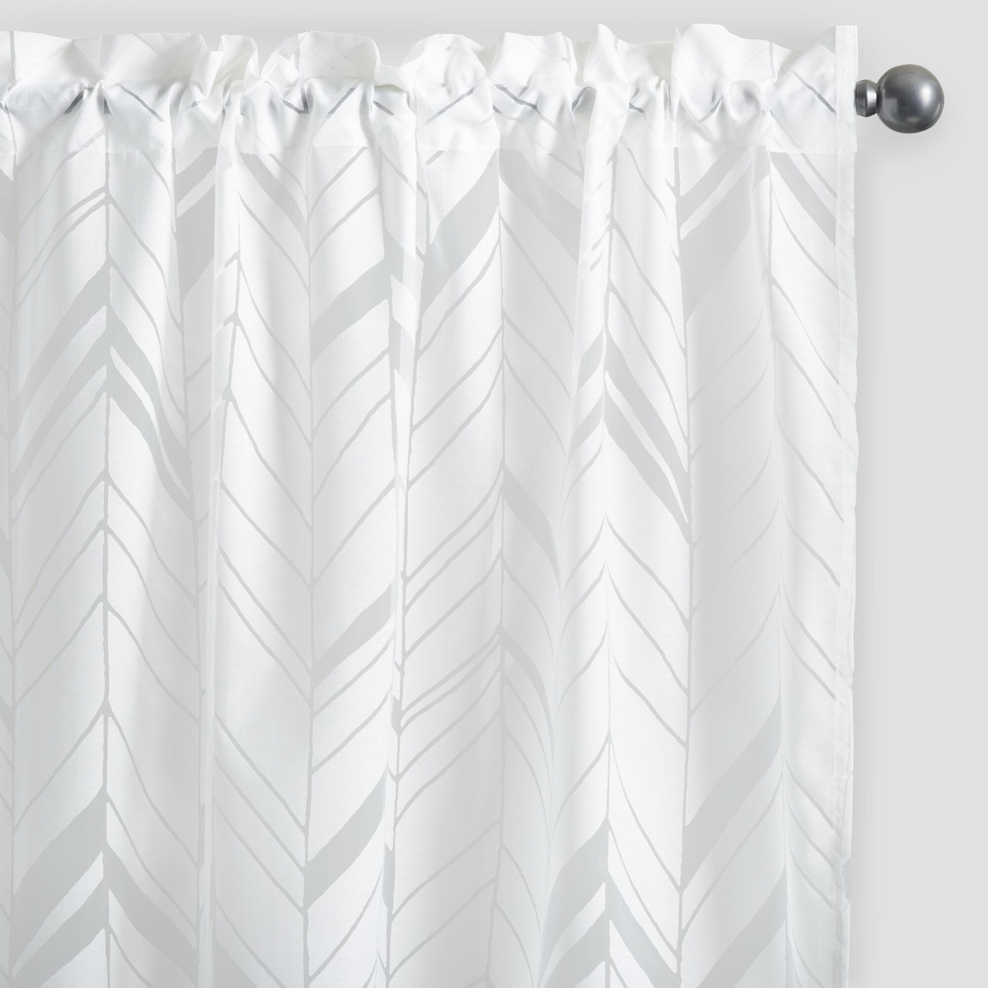 White Arrow Burnout Sheer Curtains Set Of 2 World Market