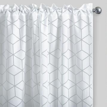 White Cubic Burnout Sheer Curtains Set of 2