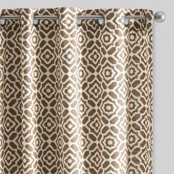 Brown Floral Tile Cotton Curtains Set of 2