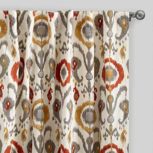 Orange Ikat Cotton Concealed Tab Top Curtains Set of 2