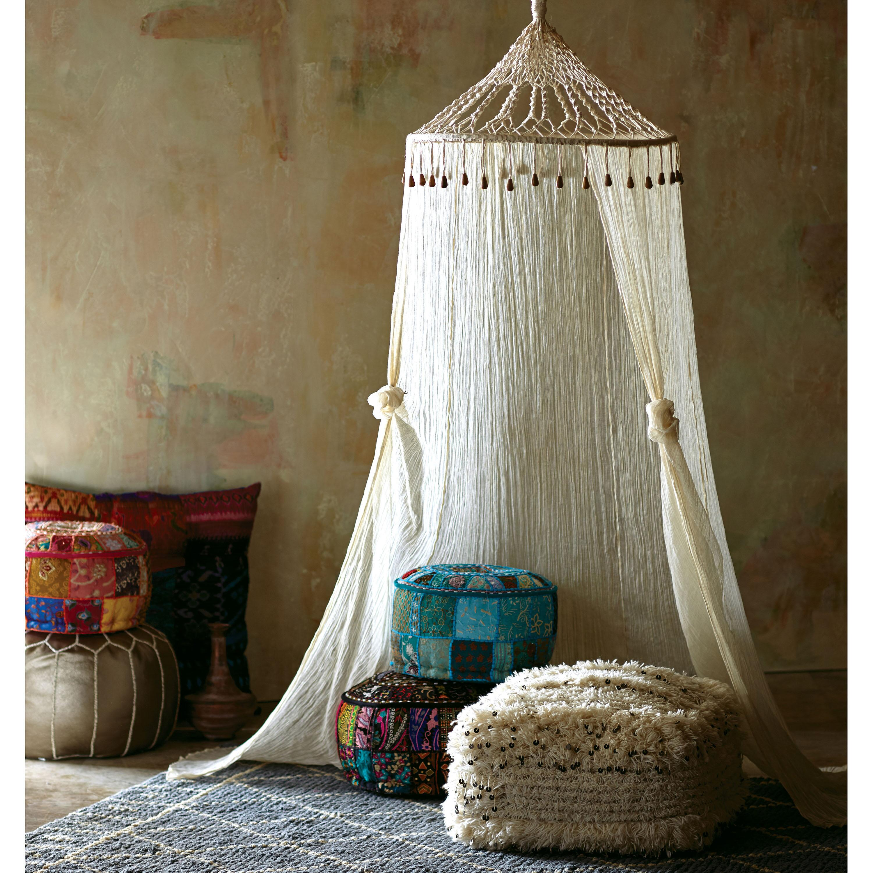 Canopy Bedroom Curtains: Boho Sheer Cotton Macrame Canopy: White By World Market