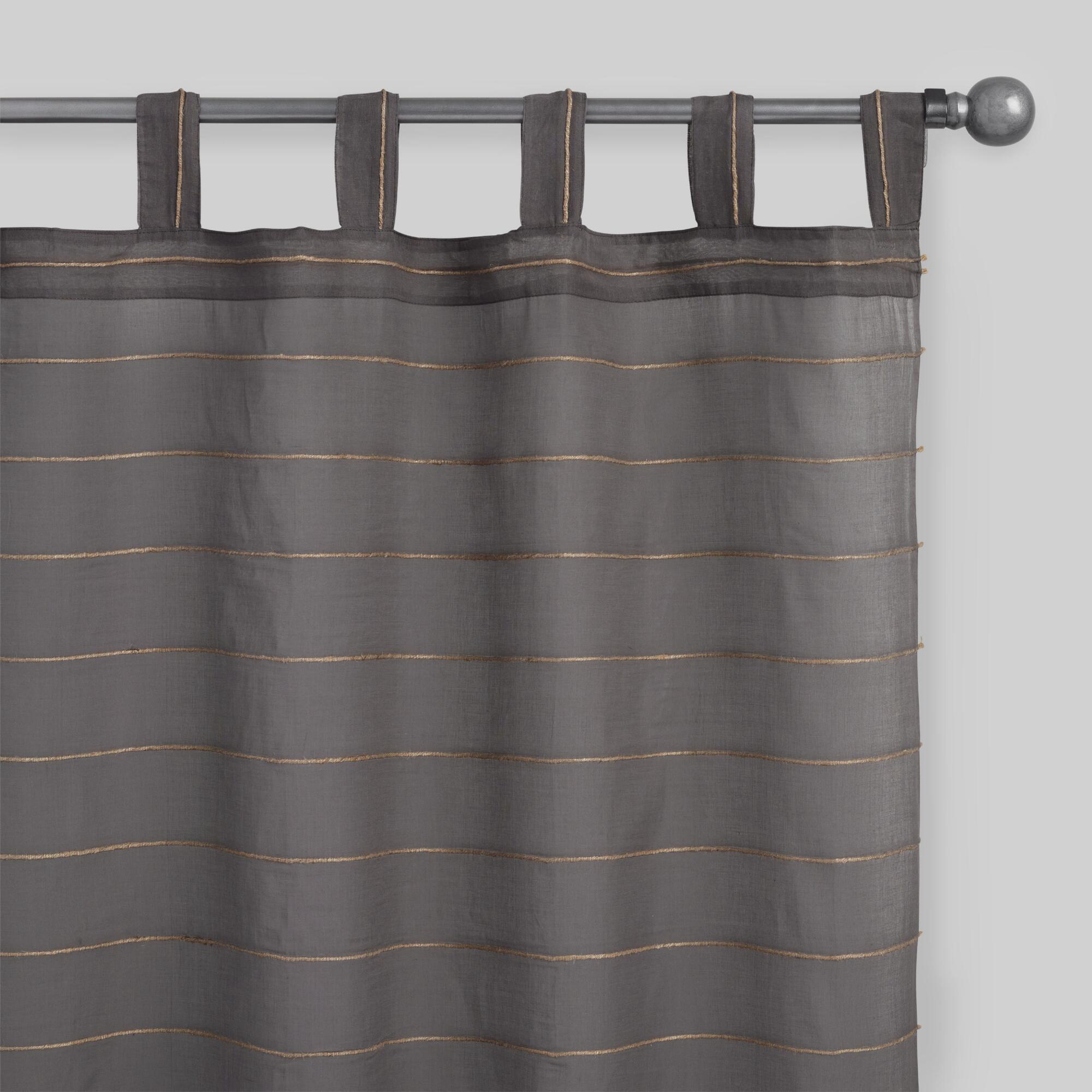 Gray Striped Jute Sahaj Tab Top Curtains Set Of 2