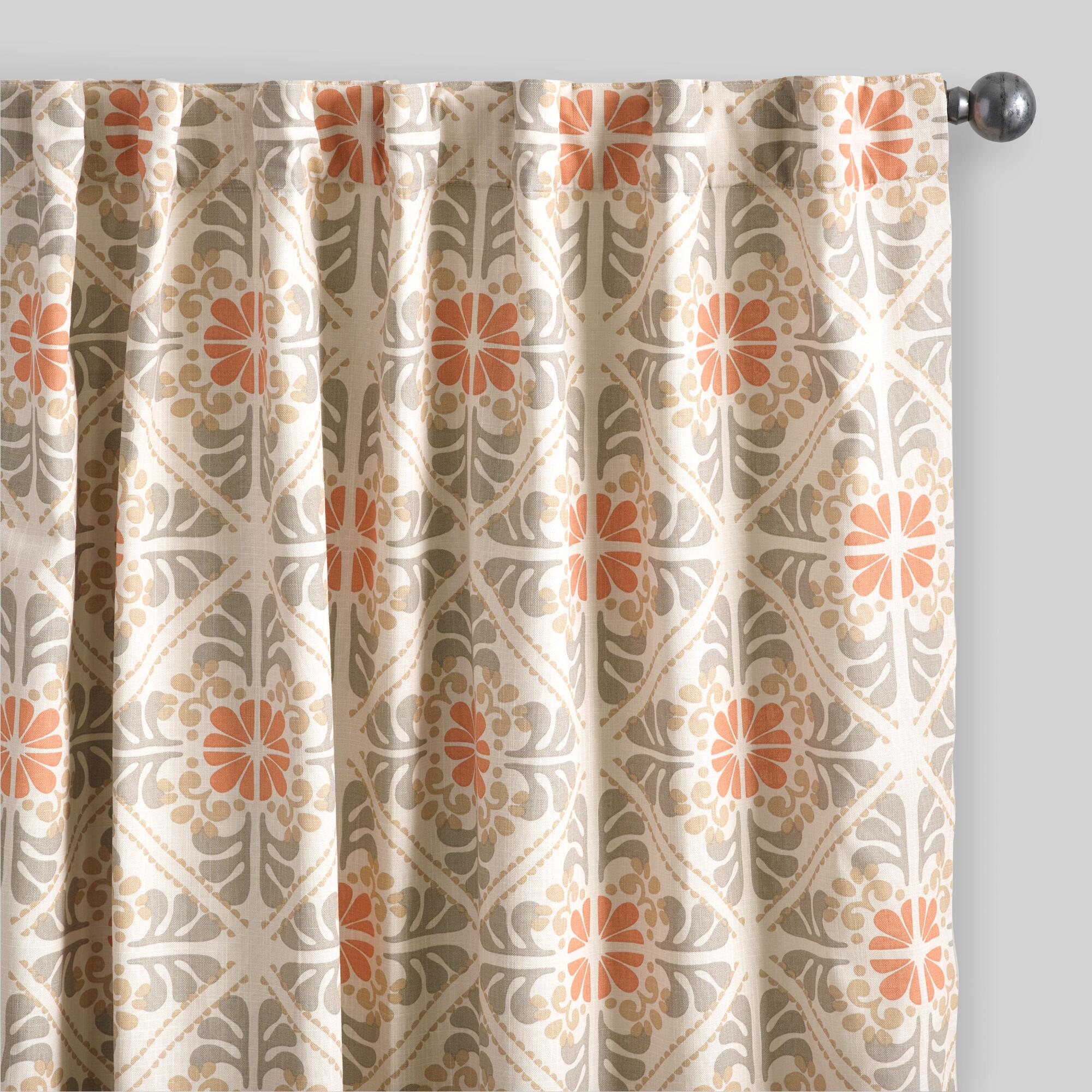 Orange tile cotton concealed tab top curtains set of 2 for Where to buy drapes