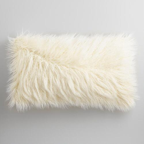 Oversized Ivory Mongolian Faux Fur Lumbar Pillow