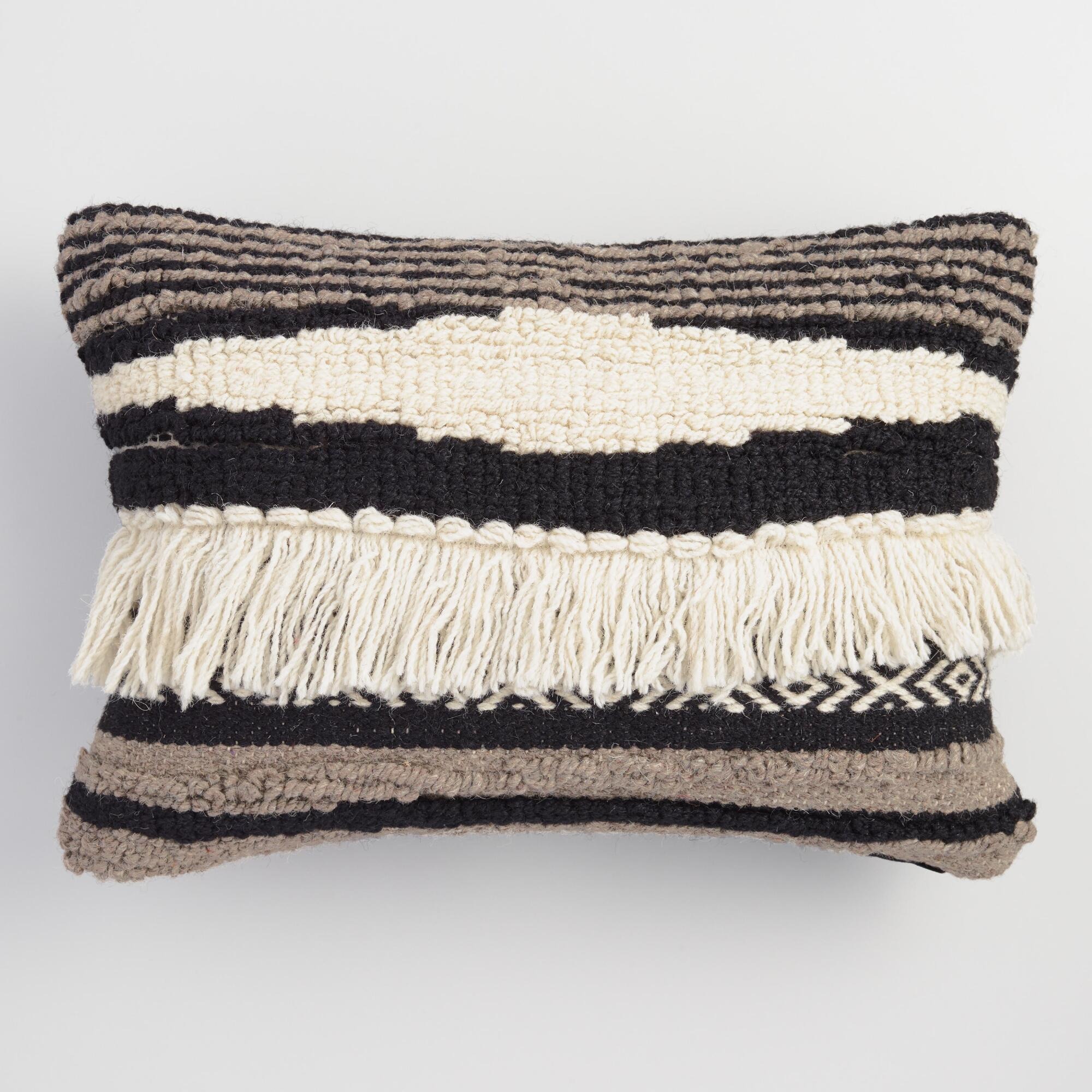 black white and gray kilim lumbar pillow world market. Black Bedroom Furniture Sets. Home Design Ideas