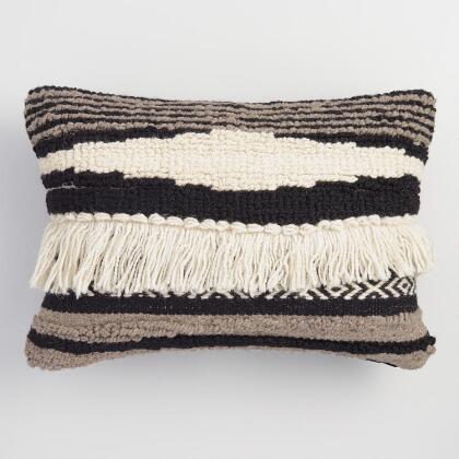 Black, White and Gray Kilim Lumbar Pillow