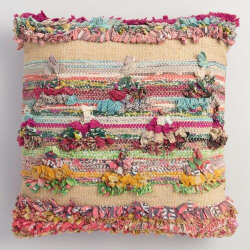 Multicolor Chindi Throw Pillow