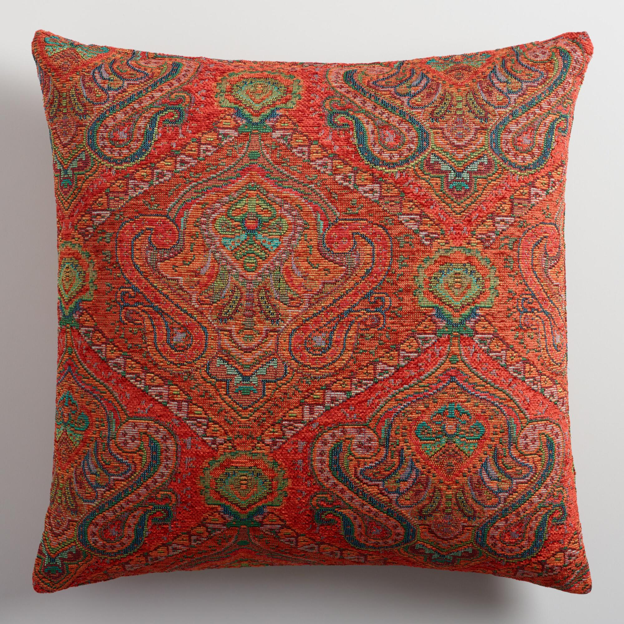 Jacquard Decorative Pillows : Orange Jacquard Throw Pillow World Market