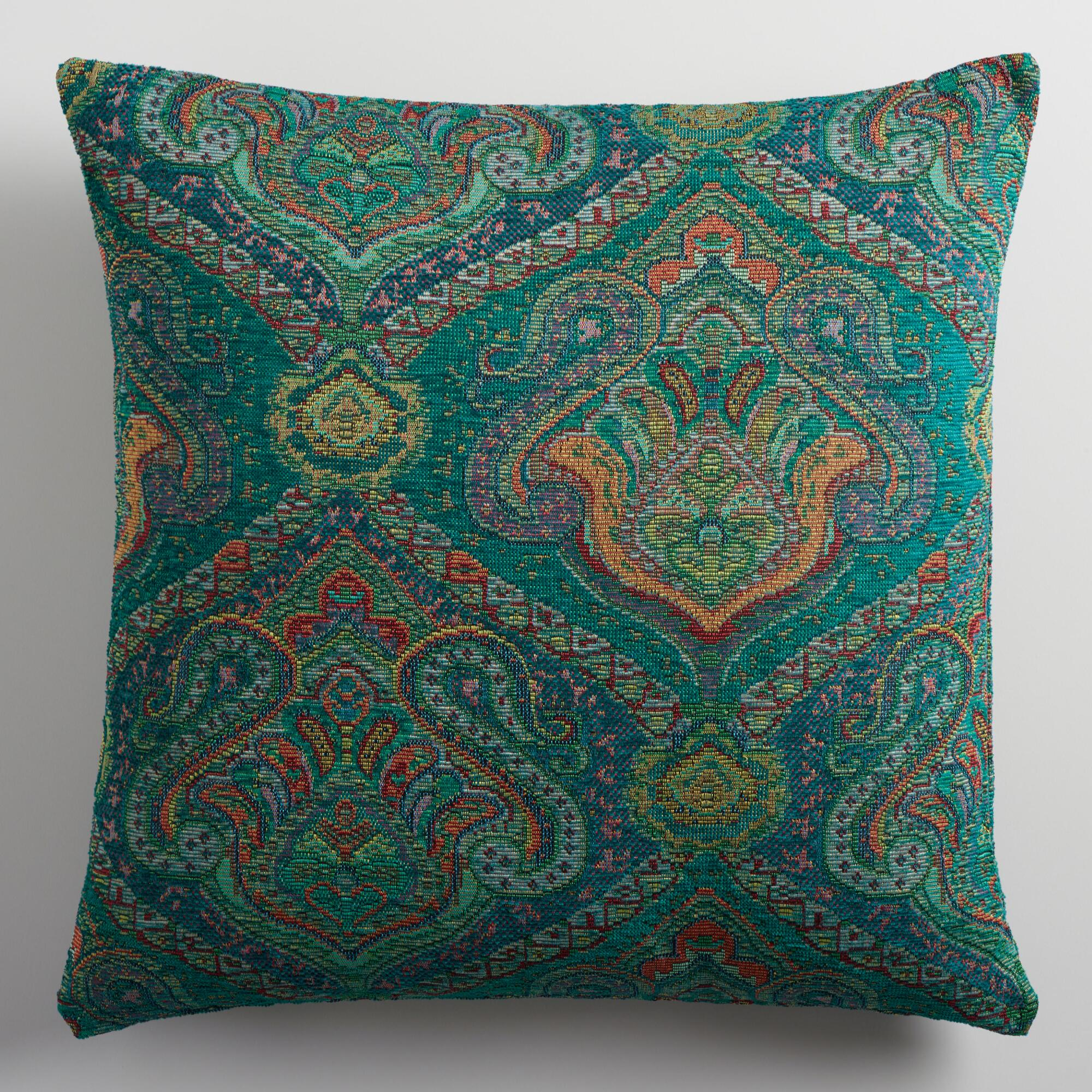 Blue Jacquard Throw Pillow World Market